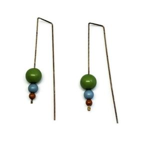Mod Retro Ball Colorful Threader Wire Earrings